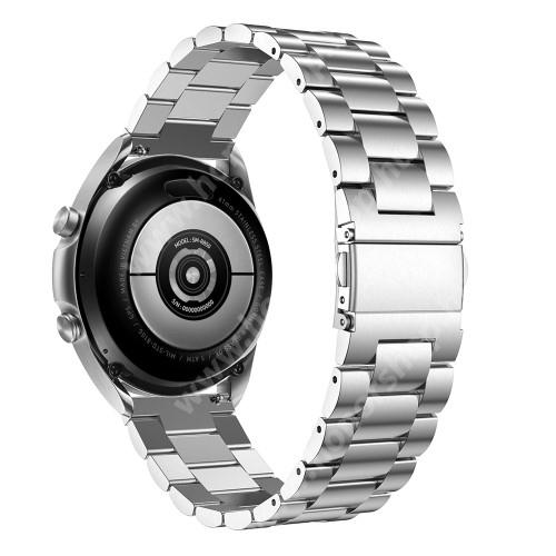 HUAWEI Honor MagicWatch 2 42mm Fém okosóra szíj - EZÜST - rozsdamentes acél, csatos, 184mm hosszú, 20mm széles, 135-235mm-es méretű csuklóig ajánlott - SAMSUNG Galaxy Watch 42mm / Xiaomi Amazfit GTS / Galaxy Watch3 41mm / HUAWEI Watch GT 2 42mm / Galaxy Watch Active / Active 2