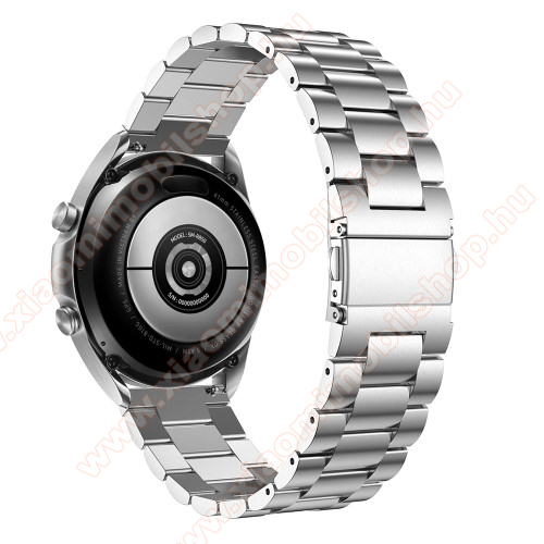 Xiaomi Amazfit Youth EditionFém okosóra szíj - EZÜST - rozsdamentes acél, csatos, 184mm hosszú, 20mm széles, 135-235mm-es méretű csuklóig ajánlott - SAMSUNG Galaxy Watch 42mm / Xiaomi Amazfit GTS / Galaxy Watch3 41mm / HUAWEI Watch GT 2 42mm / Galaxy Watch Active / Active 2