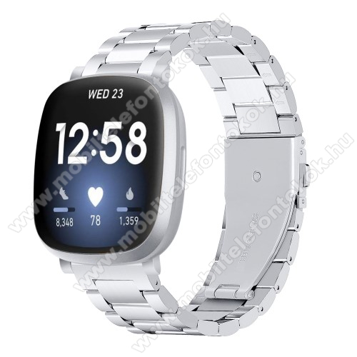 Fitbit Versa 3Fém okosóra szíj - EZÜST - rozsdamentes acél, csatos, 170mm hosszú, 140-193mm-es méretű csuklóig ajánlott - Fitbit Versa 3 / Fitbit Sense