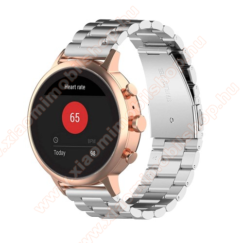 Xiaomi Mi Watch (For China Market)Fém okosóra szíj - EZÜST - rozsdamentes acél, csatos, 18mm széles - Xiaomi Mi Watch (For China Market) / Fossil Gen 4 / HUAWEI TalkBand B5 / Garmin vivoactive 4S
