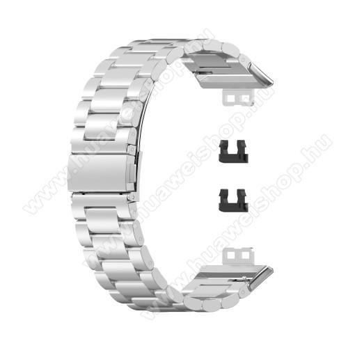 Fém okosóra szíj - EZÜST - rozsdamentes acél,  186mm hosszú, 22.5mm széles - HUAWEI Watch Fit