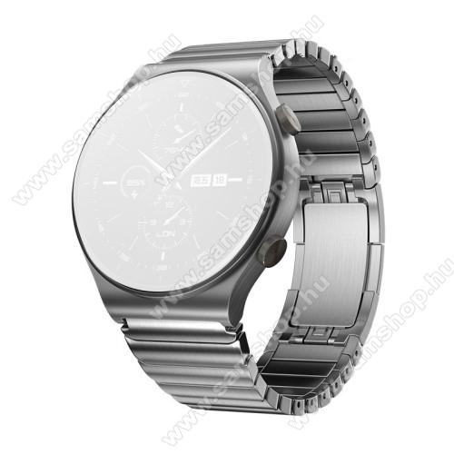 Fém okosóra szíj - EZÜST - rozsdamentes acél, csatos, 190mm hosszú, 22mm széles - SAMSUNG Galaxy Watch 46mm / Watch GT2 46mm / Watch GT 2e / Galaxy Watch3 45mm / Honor MagicWatch 2 46mm