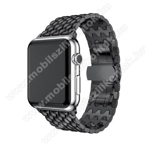 Fém okosóra szíj - FEKETE - 175mm hosszú, 21mm széles - Apple Watch Series 1 / 2 / 3 - 38mm - ACÉL