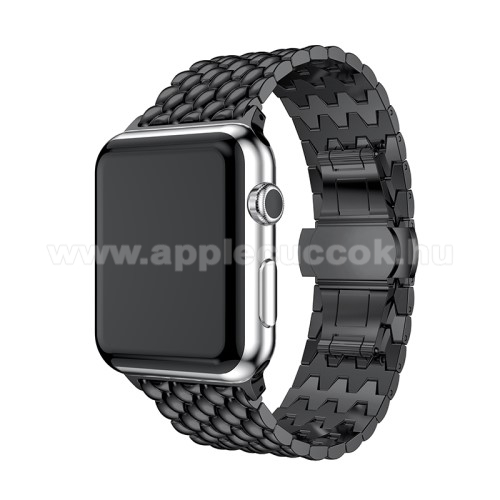 APPLE Watch Series 4 40mm Fém okosóra szíj - FEKETE - 175mm hosszú, 21mm széles - Apple Watch Series 1/2/3 38mm / APPLE Watch Series 4 40mm / APPLE Watch Series 5 40mm - ACÉL