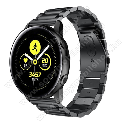 Fém okosóra szíj - FEKETE - 188mm hosszú, 20mm széles - rozsdamentes acél, csatos - SAMSUNG Galaxy Watch 42mm / Xiaomi Amazfit GTS / SAMSUNG Gear S2 / HUAWEI Watch GT 2 42mm / Galaxy Watch Active / Active 2