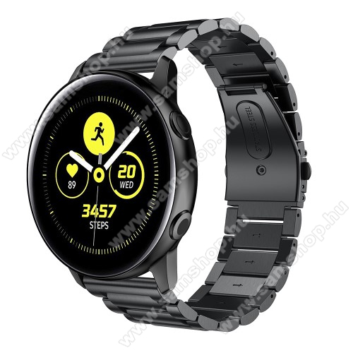 SAMSUNG Galaxy Watch 42mm (SM-R810NZ)Fém okosóra szíj - FEKETE - 188mm hosszú, 20mm széles - rozsdamentes acél, csatos - SAMSUNG Galaxy Watch 42mm / Xiaomi Amazfit GTS / SAMSUNG Gear S2 / HUAWEI Watch GT 2 42mm / Galaxy Watch Active / Active 2