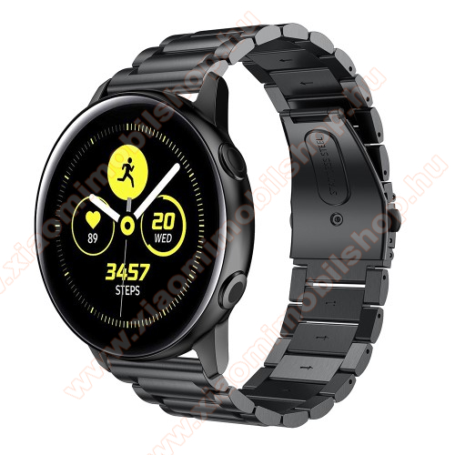 Xiaomi Amazfit Youth Edition Fém okosóra szíj - FEKETE - 188mm hosszú, 20mm széles - rozsdamentes acél, csatos - SAMSUNG Galaxy Watch 42mm / Xiaomi Amazfit GTS / HUAWEI Watch GT / SAMSUNG Gear S2 / HUAWEI Watch GT 2 42mm / Galaxy Watch Active / Active  2 / Galaxy Gear Sport