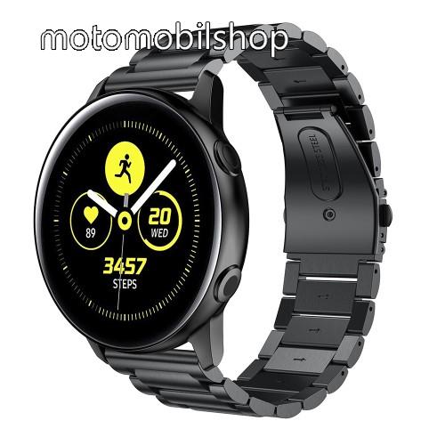 Fém okosóra szíj - FEKETE - 188mm hosszú, 20mm széles - rozsdamentes acél, csatos - SAMSUNG Galaxy Watch 42mm / Xiaomi Amazfit GTS / HUAWEI Watch GT / SAMSUNG Gear S2 / HUAWEI Watch GT 2 42mm / Galaxy Watch Active / Active  2 / Galaxy Gear Sport