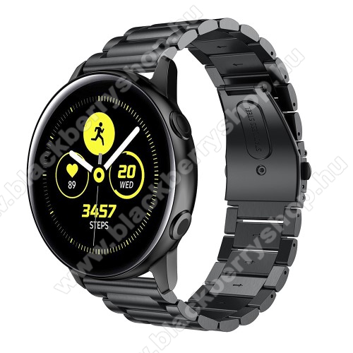 Fém okosóra szíj - FEKETE - 188mm hosszú, 20mm széles - rozsdamentes acél, csatos - SAMSUNG Galaxy Watch 42mm / Xiaomi Amazfit GTS / SAMSUNG Gear S2 / HUAWEI Watch GT 2 42mm / Galaxy Watch Active / Active 2