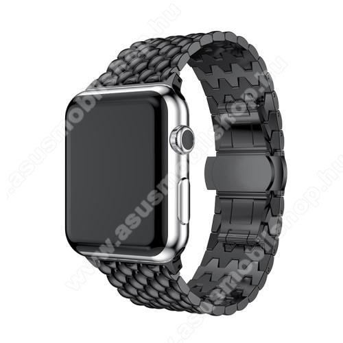 Fém okosóra szíj - FEKETE - Apple Watch Series 1 / 2 / 3 - 38mm - ACÉL