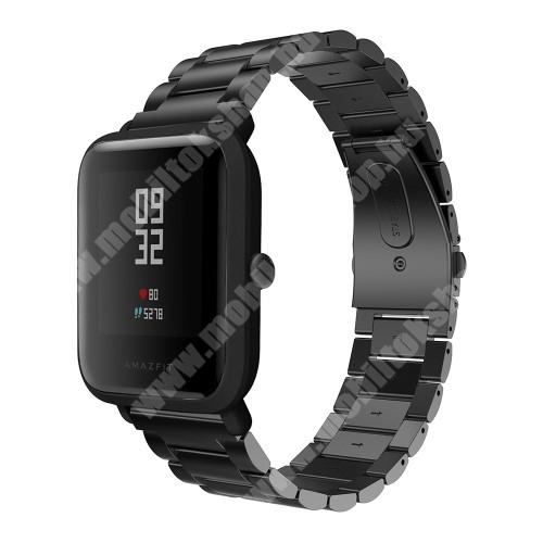 Fém okosóra szíj - FEKETE - fém háló kialakítás, mágneses, 20cm hosszú - Xiaomi Amazfit Bip / Huami Amazfit Smart Watch Youth Edition