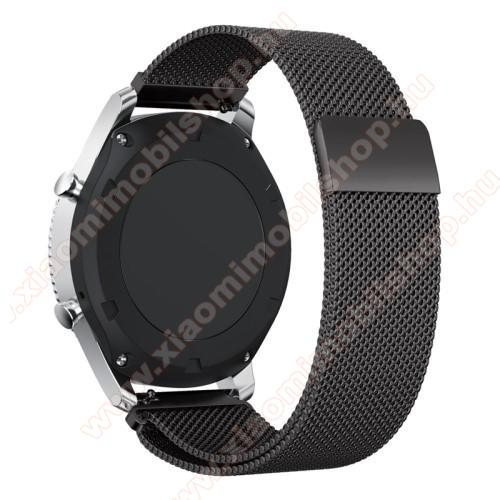 Xiaomi Amazfit GTR 47mmFém okosóra szíj - FEKETE - fém háló kialakítás, mágneses - 220mm hosszú, 22mm széles - SAMSUNG Galaxy Watch 46mm / SAMSUNG Gear S3 Classic / SAMSUNG Gear S3 Frontier