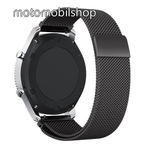 Fém okosóra szíj - FEKETE - fém háló kialakítás, mágneses - 220mm hosszú, 22mm széles - SAMSUNG Galaxy Watch 46mm / SAMSUNG Gear S3 Classic / SAMSUNG Gear S3 Frontier
