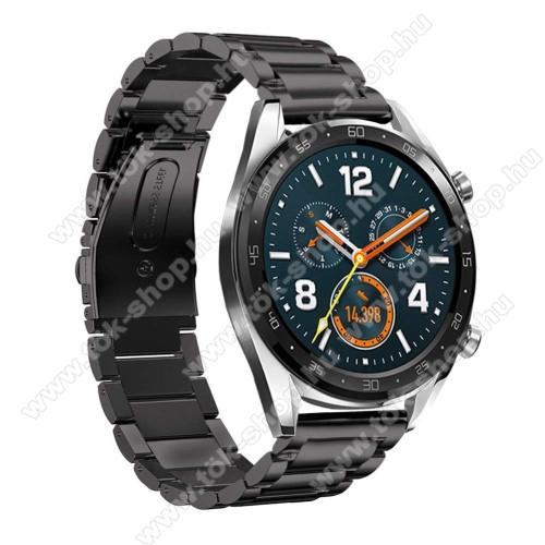 Fém okosóra szíj - FEKETE - rozsdamentes acél, csatos - 180mm hosszú, 22mm széles - HUAWEI Watch GT / HUAWEI Watch Magic / Watch GT 2 46mm