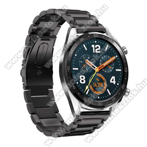 ZTE Watch GTFém okosóra szíj - FEKETE - rozsdamentes acél, csatos - 180mm hosszú, 22mm széles - HUAWEI Watch GT / HUAWEI Watch Magic / Watch GT 2 46mm