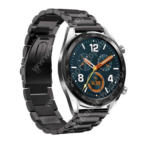 HUAWEI Watch GT 2 Pro 46mm Fém okosóra szíj - FEKETE - rozsdamentes acél, csatos - 180mm hosszú, 22mm széles - HUAWEI Watch GT / HUAWEI Watch Magic / Watch GT 2 46mm