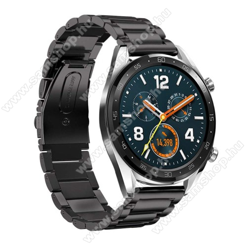SAMSUNG SM-R380 Gear 2Fém okosóra szíj - FEKETE - rozsdamentes acél, csatos - 180mm hosszú, 22mm széles - HUAWEI Watch GT / HUAWEI Watch Magic / Watch GT 2 46mm