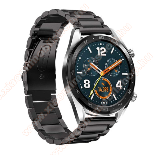 Xiaomi Mi Watch RevolveFém okosóra szíj - FEKETE - rozsdamentes acél, csatos - 180mm hosszú, 22mm széles - HUAWEI Watch GT / HUAWEI Watch Magic / Watch GT 2 46mm