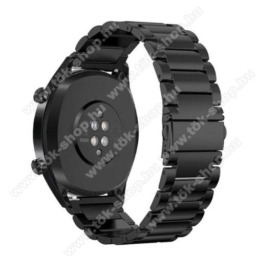 Fém okosóra szíj - FEKETE - rozsdamentes acél, csatos - 185mm hosszú, 22mm széles - HUAWEI Watch GT / HUAWEI Watch Magic / Watch GT 2 46mm