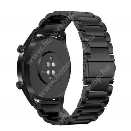 HUAWEI Honor MagicWatch 2 46mm Fém okosóra szíj - FEKETE - rozsdamentes acél, csatos - 185mm hosszú, 22mm széles - HUAWEI Watch GT / HUAWEI Watch Magic / Watch GT 2 46mm