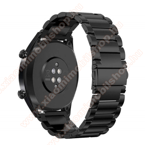 Xiaomi AmazfitFém okosóra szíj - FEKETE - rozsdamentes acél, csatos - 185mm hosszú, 22mm széles - HUAWEI Watch GT / HUAWEI Watch Magic / Watch GT 2 46mm