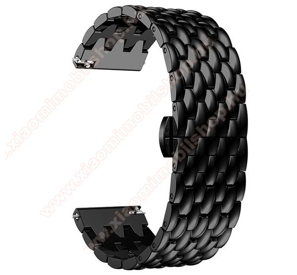 Fém okosóra szíj - FEKETE - rozsdamentes acél, csatos, 22mm széles  - HUAWEI Watch GT / SAMSUNG Galaxy Watch 46mm / SAMSUNG Gear S3 Classic / SAMSUNG Gear S3 Frontier / Watch GT 2 46mm