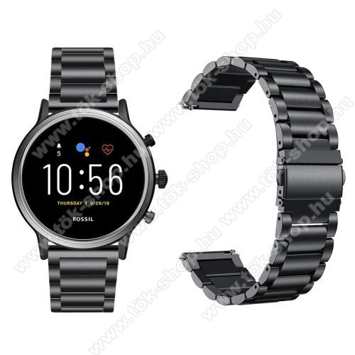 HUAWEI Honor MagicWatch 2 46mmFém okosóra szíj - FEKETE - rozsdamentes acél, csatos, 22mm széles, 145-220 mm-es csuklóig használható - Fossil Gen 5 Carlyle HR/ Julianna HR 22mm / SAMSUNG Galaxy Watch 46mm / SAMSUNG Gear S3 Frontier