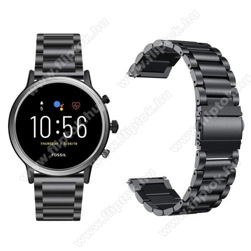 ZTE Watch GTFém okosóra szíj - FEKETE - rozsdamentes acél, csatos, 22mm széles, 145-220 mm-es csuklóig használható - Fossil Gen 5 Carlyle HR/ Julianna HR 22mm / SAMSUNG Galaxy Watch 46mm / SAMSUNG Gear S3 Frontier
