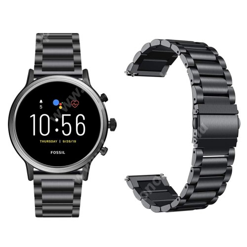 Fém okosóra szíj - FEKETE - rozsdamentes acél, csatos, 22mm széles, 145-220 mm-es csuklóig használható - Fossil Gen 5 Carlyle HR/ Julianna HR 22mm / SAMSUNG Galaxy Watch 46mm / SAMSUNG Gear S3 Frontier