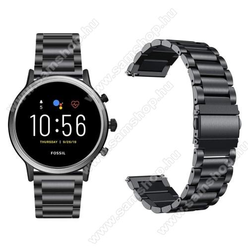 SAMSUNG Galaxy Watch3 45mm (SM-R845F)Fém okosóra szíj - FEKETE - rozsdamentes acél, csatos, 22mm széles, 145-220 mm-es csuklóig használható - Fossil Gen 5 Carlyle HR/ Julianna HR 22mm / SAMSUNG Galaxy Watch 46mm / SAMSUNG Gear S3 Frontier