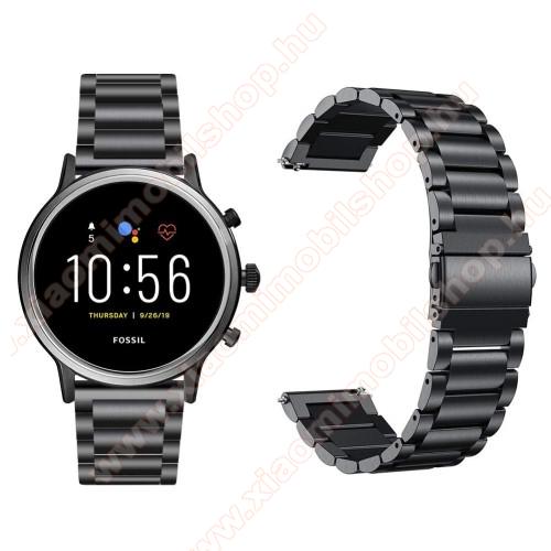 Xiaomi Amazfit Stratos 3Fém okosóra szíj - FEKETE - rozsdamentes acél, csatos, 22mm széles, 145-220 mm-es csuklóig használható - Fossil Gen 5 Carlyle HR/ Julianna HR 22mm / SAMSUNG Galaxy Watch 46mm / SAMSUNG Gear S3 Frontier