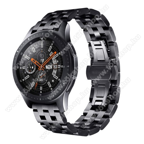 Fém okosóra szíj - FEKETE - rozsdamentes acél, speciális pillangó csatos, 20mm széles - SAMSUNG Galaxy Watch 42mm / Xiaomi Amazfit GTS / SAMSUNG Gear S2 / HUAWEI Watch GT 2 42mm / Galaxy Watch Active / Active 2