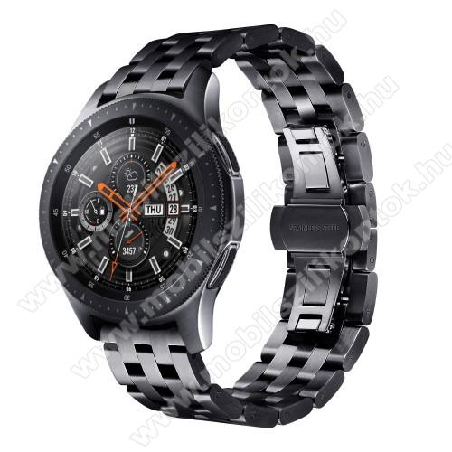Fém okosóra szíj - FEKETE - rozsdamentes acél, speciális pillangó csatos, 20mm széles - SAMSUNG Galaxy Watch 42mm / Xiaomi Amazfit GTS / HUAWEI Watch GT / SAMSUNG Gear S2 / HUAWEI Watch GT 2 42mm / Galaxy Watch Active / Active 2
