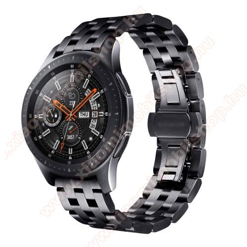 Xiaomi Amazfit BIP LiteFém okosóra szíj - FEKETE - rozsdamentes acél, speciális pillangó csatos, 20mm széles - SAMSUNG Galaxy Watch 42mm / Xiaomi Amazfit GTS / HUAWEI Watch GT / SAMSUNG Gear S2 / HUAWEI Watch GT 2 42mm / Galaxy Watch Active / Active 2