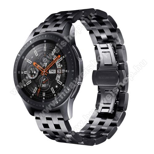 HUAWEI Watch 2Fém okosóra szíj - FEKETE - rozsdamentes acél, speciális pillangó csatos, 20mm széles - SAMSUNG Galaxy Watch 42mm / Xiaomi Amazfit GTS / SAMSUNG Gear S2 / HUAWEI Watch GT 2 42mm / Galaxy Watch Active / Active 2