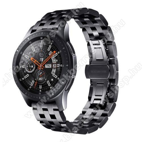 Fém okosóra szíj - FEKETE - rozsdamentes acél, speciális pillangó csatos, 20mm széles - SAMSUNG Galaxy Watch 42mm / Xiaomi Amazfit GTS / SAMSUNG Gear S2 / HUAWEI Watch GT 2 42mm / Galaxy Watch Active / Active 2