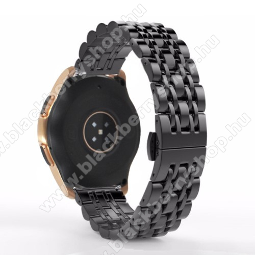 Fém okosóra szíj - FEKETE - rozsdamentes acél, speciális pillangó csatos, 22mm széles - SAMSUNG Galaxy Watch 46mm / SAMSUNG Gear S3 Classic / Gear S3 Frontier / Honor MagicWatch 2 46mm