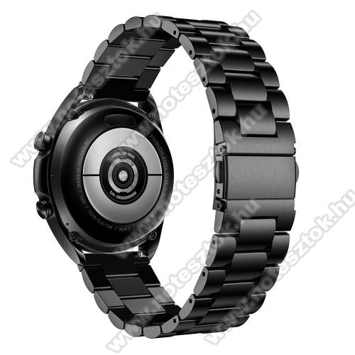 ZTE Watch GTFém okosóra szíj - FEKETE - rozsdamentes acél, csatos, 184mm hosszú, 22mm széles, 135-235mm-es méretű csuklóig ajánlott - SAMSUNG Galaxy Watch 46mm / Watch GT2 46mm / Watch GT 2e / Galaxy Watch3 45mm / Honor MagicWatch 2 46mm