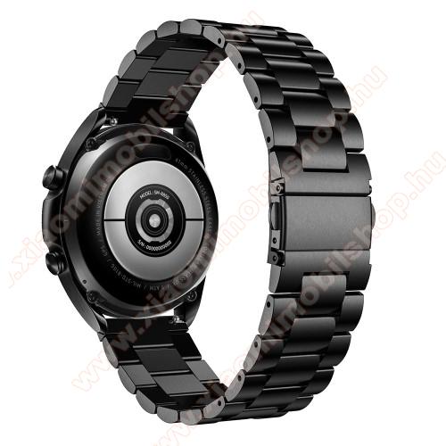 Fém okosóra szíj - FEKETE - rozsdamentes acél, csatos, 184mm hosszú, 22mm széles, 135-235mm-es méretű csuklóig ajánlott - SAMSUNG Galaxy Watch 46mm / Watch GT2 46mm / Watch GT 2e / Galaxy Watch3 45mm / Honor MagicWatch 2 46mm