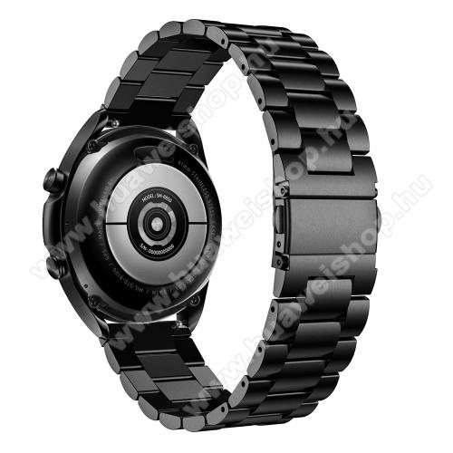 HUAWEI Watch GT 2eFém okosóra szíj - FEKETE - rozsdamentes acél, csatos, 184mm hosszú, 22mm széles, 135-235mm-es méretű csuklóig ajánlott - SAMSUNG Galaxy Watch 46mm / Watch GT2 46mm / Watch GT 2e / Galaxy Watch3 45mm / Honor MagicWatch 2 46mm