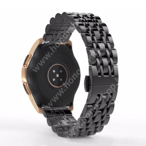 HUAWEI Honor MagicWatch 2 42mm Fém okosóra szíj - FEKETE - rozsdamentes acél, speciális pillangó csatos, 20mm széles - SAMSUNG Galaxy Watch 42mm / Xiaomi Amazfit GTS / SAMSUNG Gear S2 / HUAWEI Watch GT 2 42mm / Galaxy Watch Active / Active 2