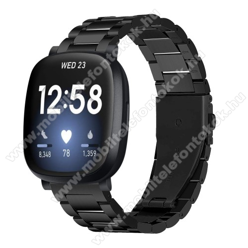 Fitbit Versa 3Fém okosóra szíj - FEKETE - rozsdamentes acél, csatos, 170mm hosszú, 140-193mm-es méretű csuklóig ajánlott - Fitbit Versa 3 / Fitbit Sense