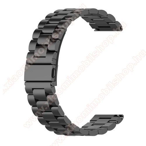 Xiaomi Mi Watch (For China Market)Fém okosóra szíj - FEKETE - rozsdamentes acél, csatos, 18mm széles - Xiaomi Mi Watch (For China Market) / Fossil Gen 4 / HUAWEI TalkBand B5 / Garmin vivoactive 4S