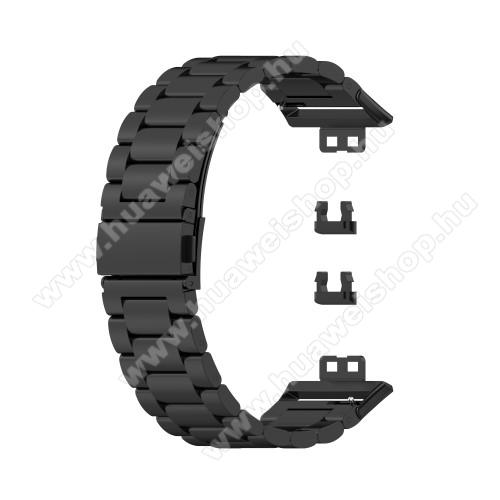 Fém okosóra szíj - FEKETE - rozsdamentes acél,  186mm hosszú, 22.5mm széles - HUAWEI Watch Fit