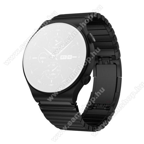 Fém okosóra szíj - FEKETE - rozsdamentes acél, csatos, 190mm hosszú, 22mm széles - SAMSUNG Galaxy Watch 46mm / Watch GT2 46mm / Watch GT 2e / Galaxy Watch3 45mm / Honor MagicWatch 2 46mm