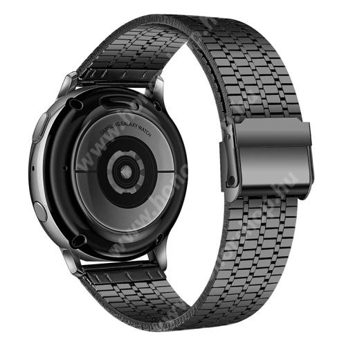 Fém okosóra szíj - FEKETE - rozsdamentes acél, csatos, 84+110mm hosszú, 22mm széles - HUAWEI Watch GT / Watch 2 Pro / Honor Watch Magic / Watch GT 2 46mm / Xiaomi Amazfit / Amazfit 2 / Fossil Q MARSHAL Gen2