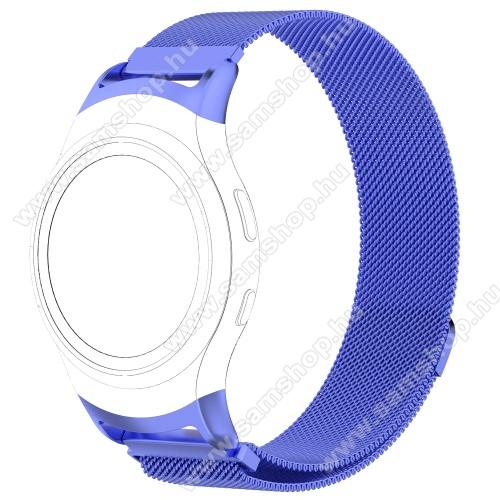 SAMSUNG SM-R360 Gear Fit 2Fém okosóra szíj - KÉK - fém háló kialakítás, mágneses, 245mm hosszú, 20mm széles - SAMSUNG Gear Fit 2 SM-R360 / SAMSUNG Gear Fit 2 Pro SM-R365
