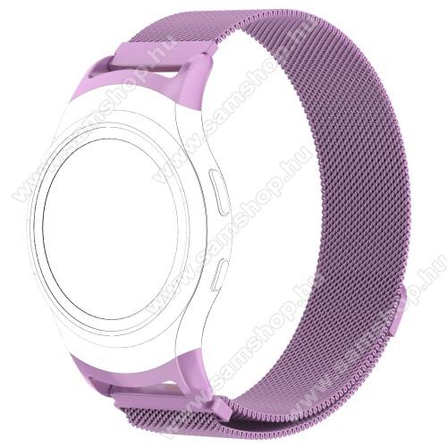 SAMSUNG SM-R360 Gear Fit 2Fém okosóra szíj - LILA - fém háló kialakítás, mágneses, 245mm hosszú, 20mm széles - SAMSUNG Gear Fit 2 SM-R360 / SAMSUNG Gear Fit 2 Pro SM-R365