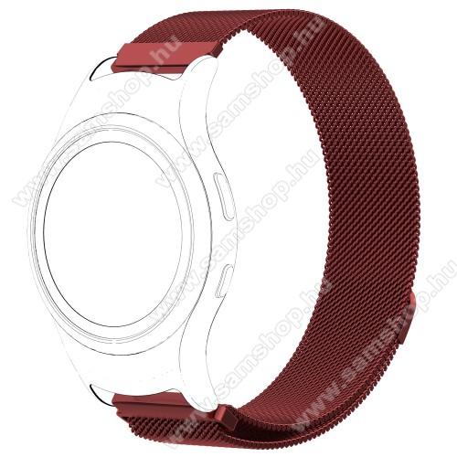 SAMSUNG SM-R360 Gear Fit 2Fém okosóra szíj - PIROS - fém háló kialakítás, mágneses, 245mm hosszú, 20mm széles - SAMSUNG Gear Fit 2 SM-R360 / SAMSUNG Gear Fit 2 Pro SM-R365