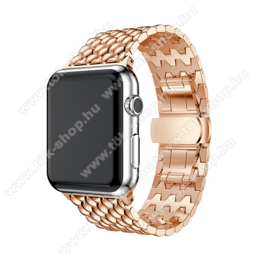 Fém okosóra szíj - ROSE GOLD - 175mm hosszú, 21mm széles - Apple Watch Series 1/2/3 38mm / APPLE Watch Series 4 40mm / APPLE Watch Series 5 40mm - ACÉL